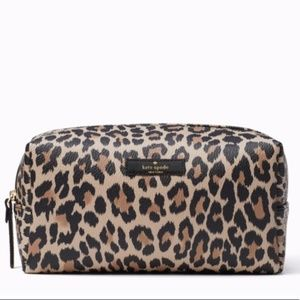 NWT Kate Spade Leopard Davie Cosmetic Bag